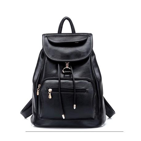 Универсальная городская черная кожаная сумка-рюкзак